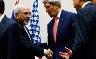 Iranian Foreign Minister Mohammad Javad Zarif, left, and U.S. Secretary of State John Kerry after a statement Nov. 24, 2013, in Geneva, where world powers and Iran agreed a landmark deal halting parts of Iran's nuclear program.Denis Balibouse/Reuters