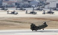 US military helicopters seen in 2020 at one of America's hundreds of overseas military bases, Camp Humphreys in Pyeongtaek, South Korea.